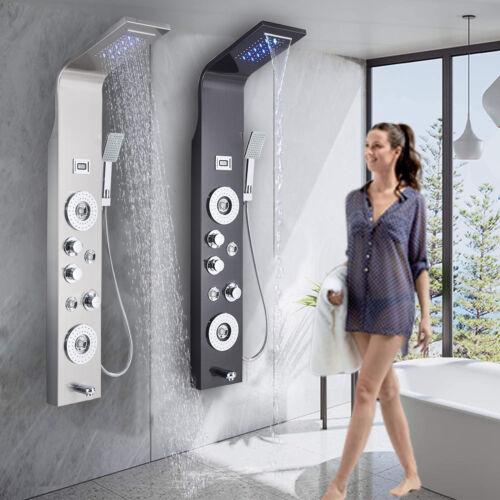 ELLO&ALLO Shower Panel Tower System LED Rain Head Combo Massage Jet Faucet set