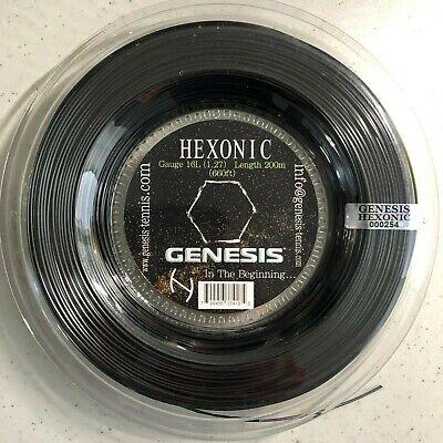 GENESIS HEXONIC 16L Black 660' Reel Of Professional Tennis Racket String (16 660' Tennis String Reels)