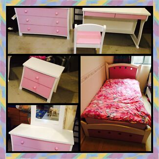 King single bed package five piece pink and white Amaroo Gungahlin Area Preview