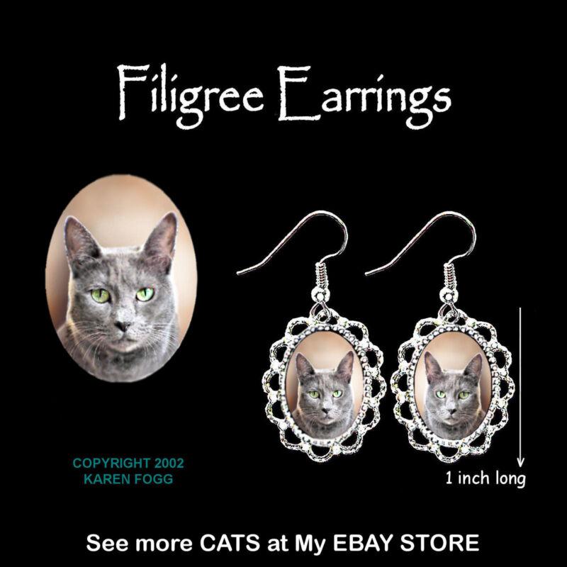 RUSSIAN BLUE Cat - SILVER FILIGREE EARRINGS Jewelry