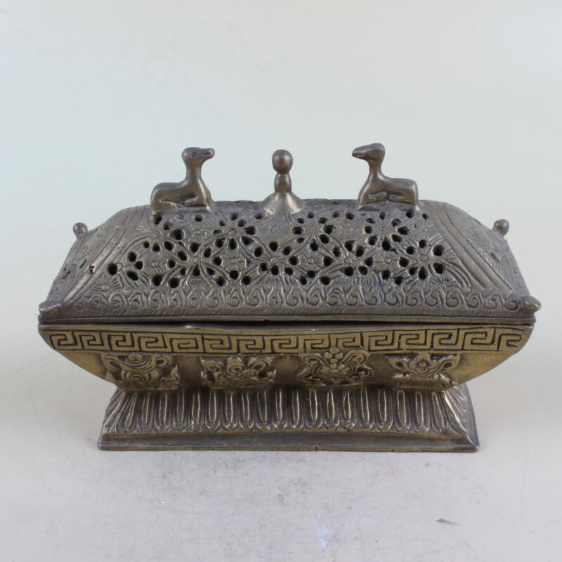 Chinese Collection Brass Hollow Flowers Pattern Incense burner Xuan De W Mark