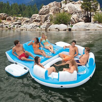 Inflatable Island Raft Floating Pool Party 7 Person Lake Lounge Float Cooler NEW - Inflatable Party Raft