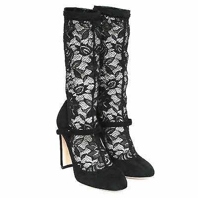 DOLCE & GABBANA sheer black lace high heel boots suede mary jane shoes 37.5 NEW