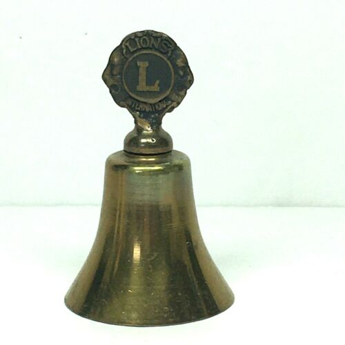 """Vintage Lions Club Bell 3"""" Brass Clapper and Logo"""