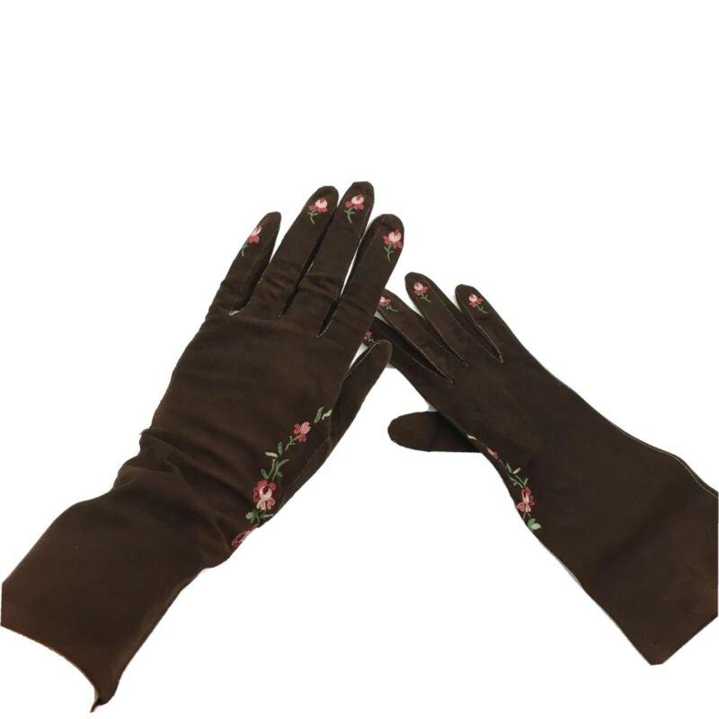 Antique VTG Brown Leather Gloves Womens Embroidered Sz 6.5 E&S Jays Paris 1900