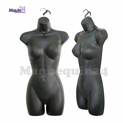 One Mannequin Female Black Torso With Hanger - Plastic Hanging Dress Form
