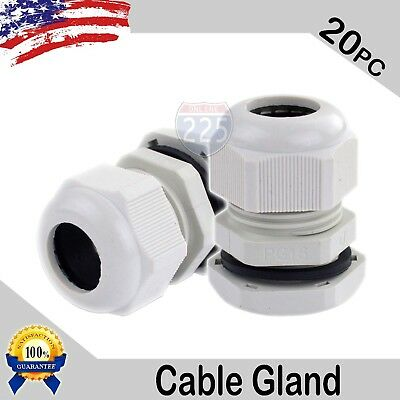 20 Pcs PG16 White Nylon Waterproof Cable Gland 10-14mm Dia. w/ Lock-Nut & Gasket