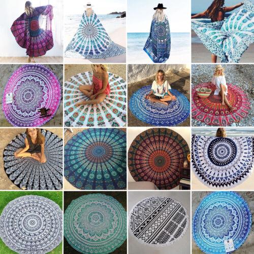 INDIANO rotondo arazzo Mandala Copriletto da parete ARTE Telo da Spiaggia Hippy