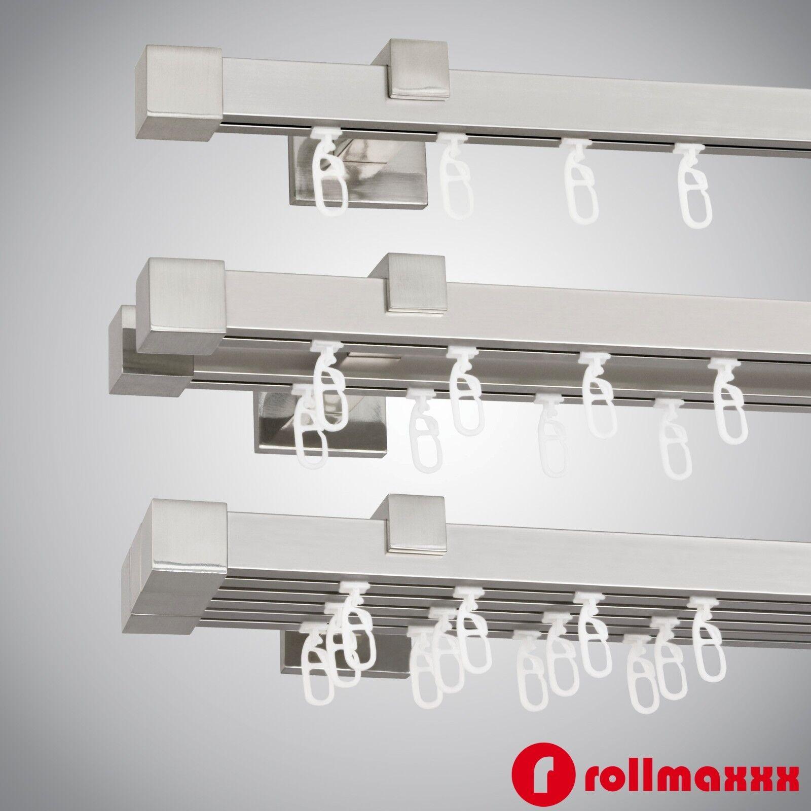 Gardinenstange Vorhangstange 200cm 20mm 1 2 3 läufig Edelstahl Design Metall