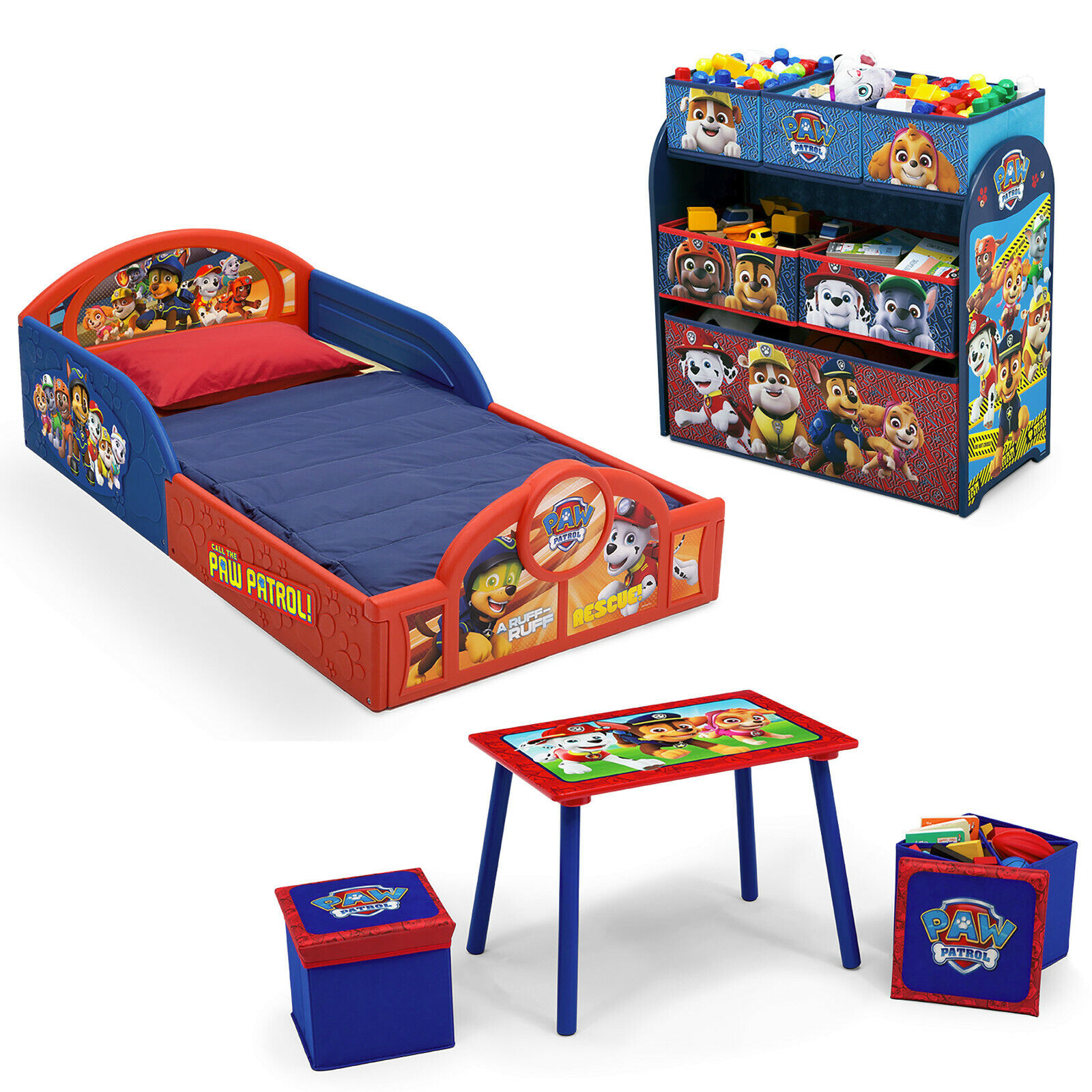 Nick Jr. PAW Patrol 5-Piece Toddler Bedroom Set,Toddler Bed,