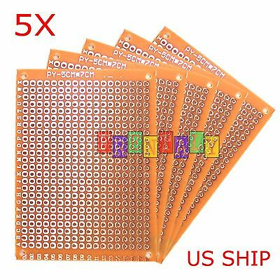 5pcs 5cm X 7cm Pcb Prototyping Perf Boards Breadboard Diy Us