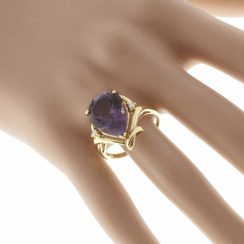 Vintage Estate 14k Gold 5.25ct Pear Shaped Amethyst Round Diamond Accent Ring