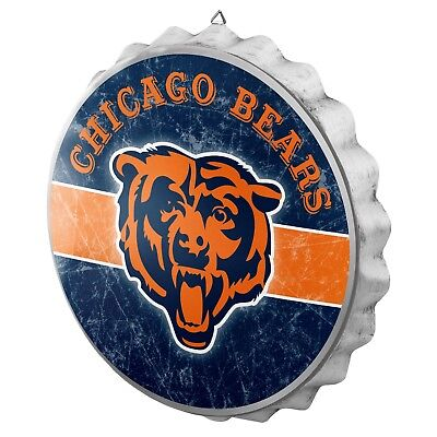 Chicago Bears Decor (Chicago Bears Bottle Cap Wall Sign - Distressed - Room Bar Decor Metal 13.5
