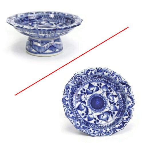 Vintage Thai Blue & White Miniature TAZZA DISH   S.P. Ceramics Thailand