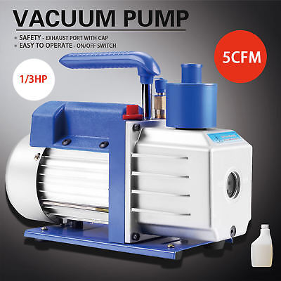 5cfm 13hp 110v Rotary Vane Deep Vacuum Pump Blue Hvac Ac Refrigerant Charge