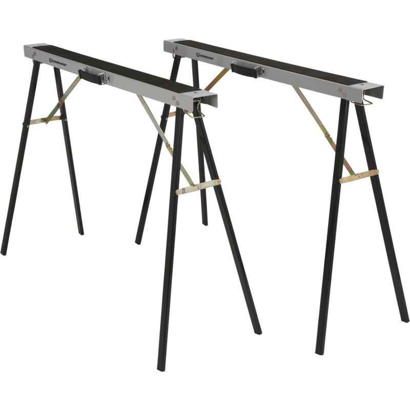 Strongway Steel Foldable Sawhorses, 1 Pair - 600-lb. Total Capacity