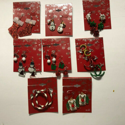 Lot Of 8 Assorted Xmas Christmas  Holiday Earrings carded