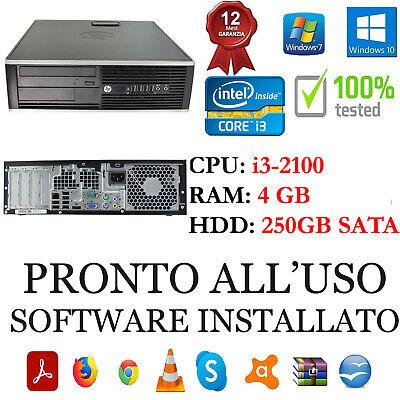 PC COMPUTER DESKTOP FISSO HP RICONDIZIONATO CORE i3-2100 4GB 250 WINDOWS 10