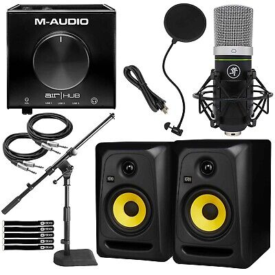 Home Podcast Live Stream Vocal Recording Pack KRK Monitors Mackie Mic Desk Stand