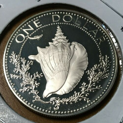 1974  BAHAMAS SILVER $1 CONCH SHELL PROOF BRILLIANT UNCIRCULATED