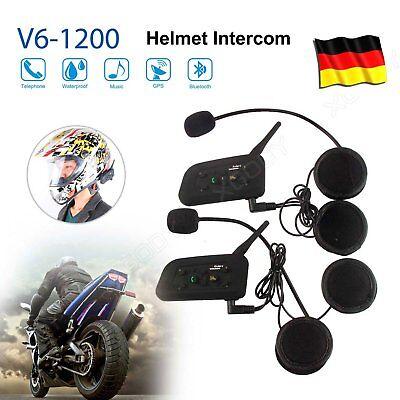 1200m Motorrad Helm Sprechanlage Gegensprechanlage Intercom 6 Riders V6 BT 2x DE