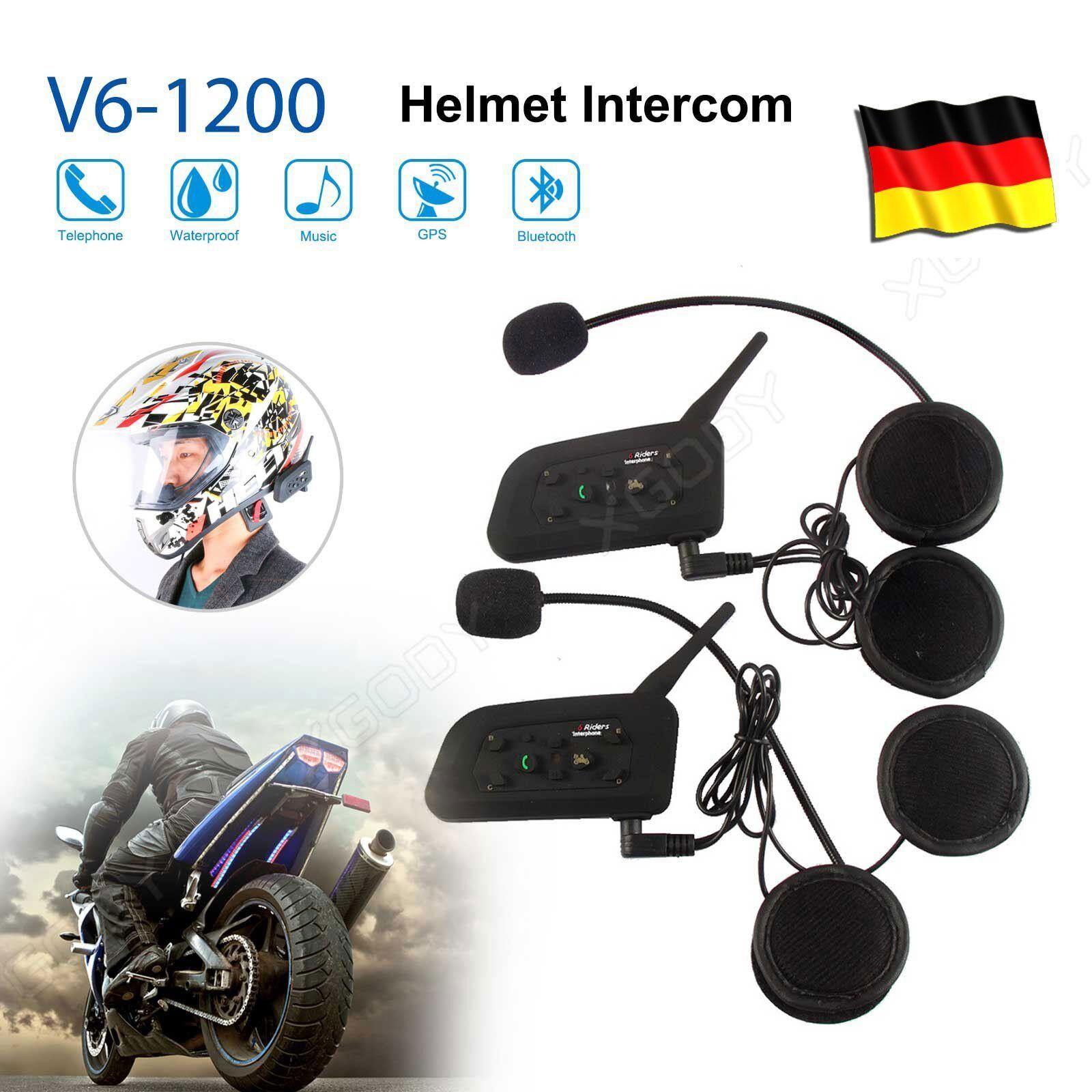 1,2 km Bluetooth Motorrad Intercom Headset Helm Gegensprechanlage Intercom V8