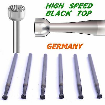 6pcs Black Top High Speed Steel Cup Burs 023 / 2.3mm Germany Diamond Setting