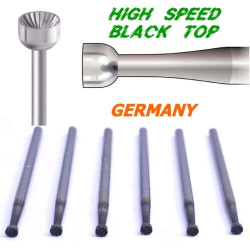 6pcs High Speed Steel Cup Burs Black Top Germany 023 / 2.3mm Diamond Setting