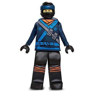 Jay Ninjago Costume (Lego Ninjago Movie Jay Boys' Deluxe Prestige Costume Minifigure Size Small)