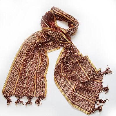 Schal Herrenschal Kurta Schal Herren 250x30cm Indien Kostüm Bollywood Rot Gold 2 ()