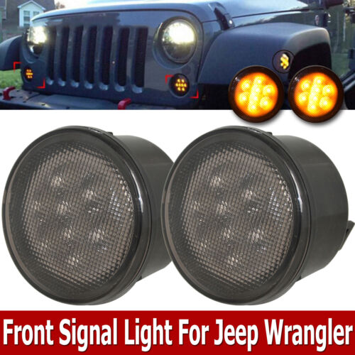 2007 Jeep Wrangler Unlimited Sahara >> Front Amber Smoked LED Turn Signal Lights Assembly for 07 ...