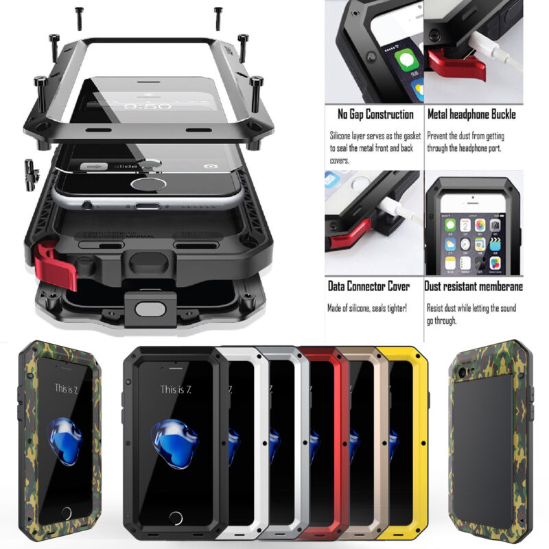 Shockproof Aluminum Glass Metal Case Cover for iPhone 5S 6 7 8 & Plus