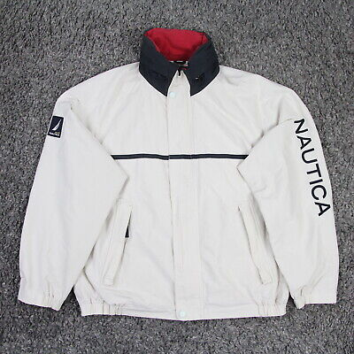 Vintage Nautica NS-83 Hooded Sailing Bomber Jacket Spell Out M Cream 5243