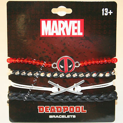 NEW Marvel Deadpool Disk Charm 4 PK Bracelet Set Cord Beads Katana Blade Logo