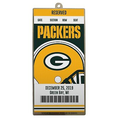 Green Bay Packer Logo (Green Bay Packers Metal Ticket Football Christmas Tree Holiday Ornament New)