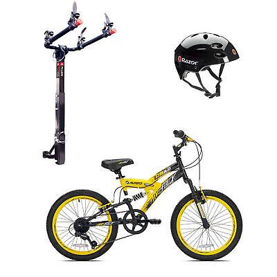 Kent Bikes Avigo Air Flex Steel 20 Inch Boys BMX Bike & 2 Bike Car Rack & Helmet