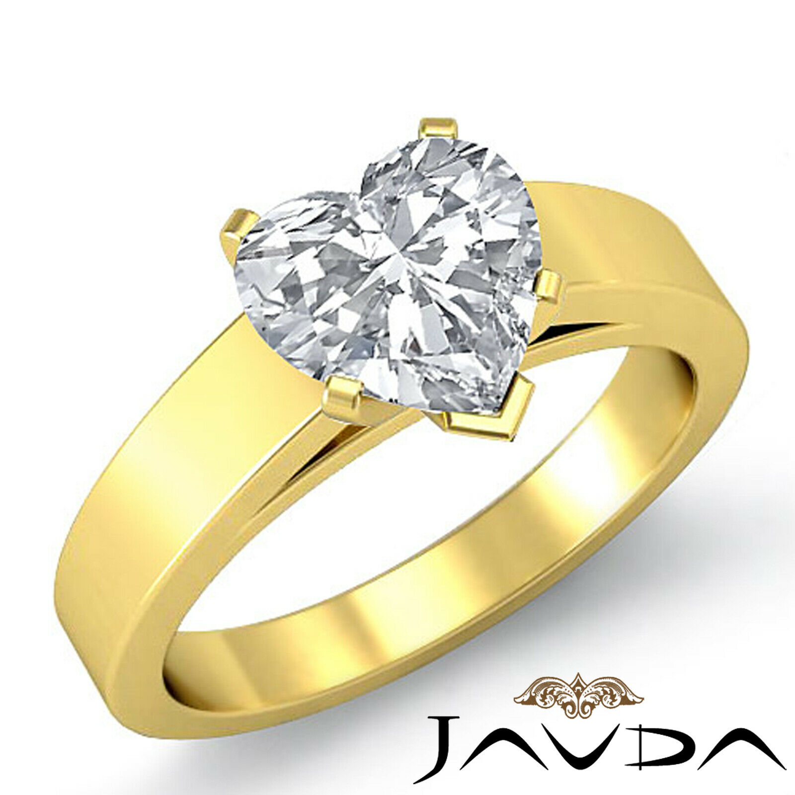 4.5mm Heart Diamond cathedral Solitaire Engagement GIA G SI1 Gold Ring 0.70 ct. 1