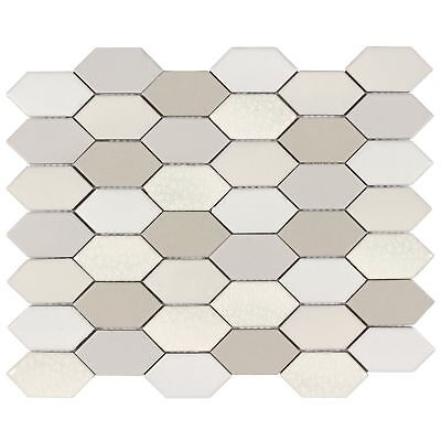Classic Mosaic Taupe White Beige Glossy Polished Porcelain Tile Wall - Beige Porcelain