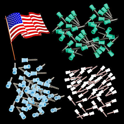 100pcs Dental Rubber Prophy Tooth Polishing Cups Polisher Brushes Latch 3 Colors