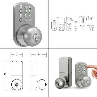Milocks Tkk-02sn Digital Door Knob Lock With Electronic Keypad For Interior Doors, Satin Nickel