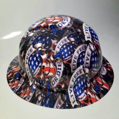 NEW FULL BRIM Hard Hat custom hydro dipped LIVE FREE OR DIE USA AMERICA sick 1