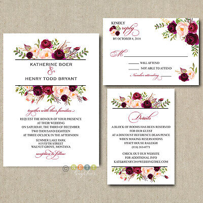 100 Personalized Burgundy Floral Boho Wedding Invitation Suite with Envelopes  ](Floral Wedding Invitations)