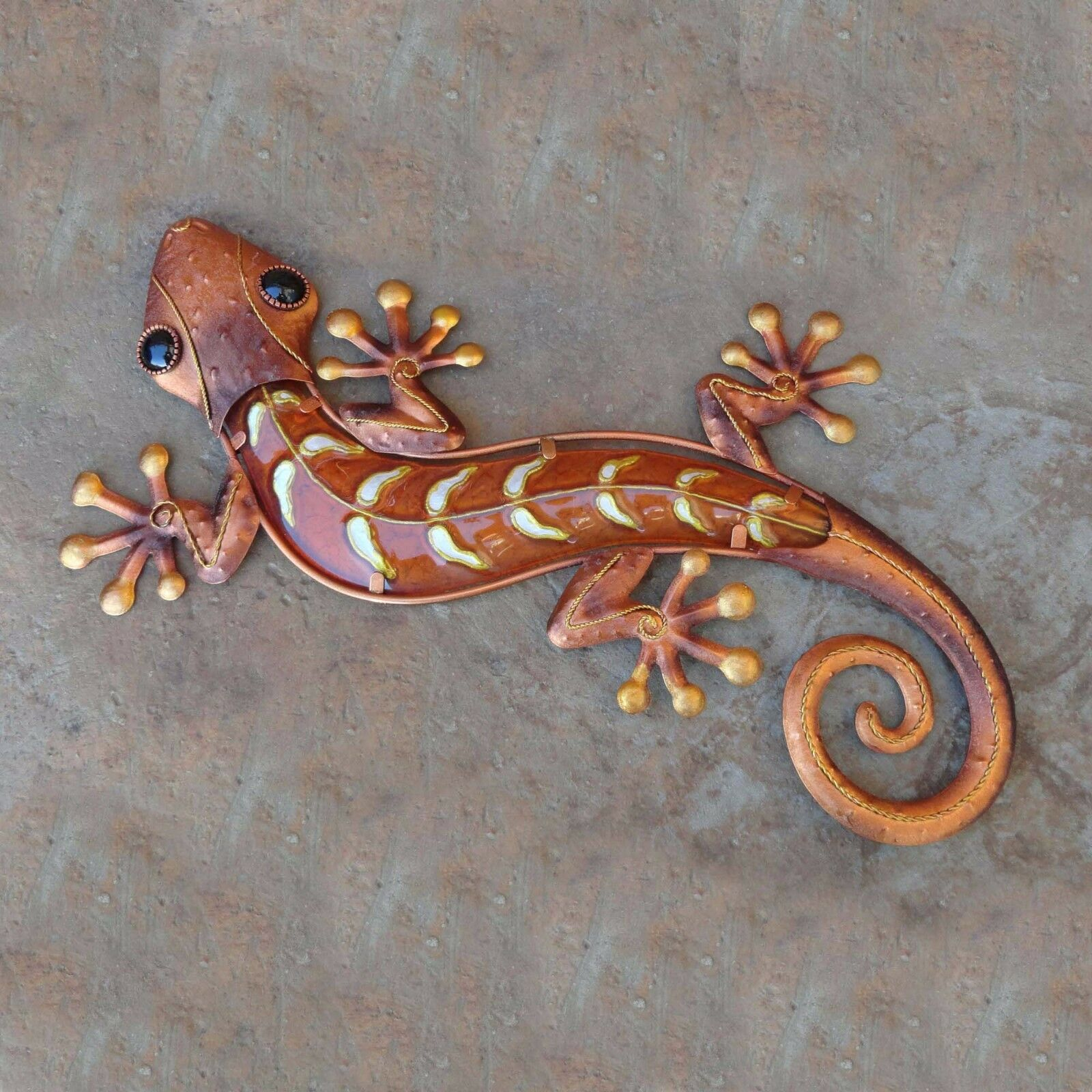 Details About 18 Gecko Copper Finish Metal And Glass Wall Art Lizard Wall Decor