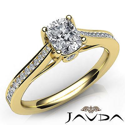 Cushion Diamond Channel Set Engagement Ring GIA F VVS2 18k Yellow Gold 0.70Ct
