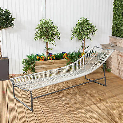 Contemporary Cosmopolitan Sun Lounger Grey Steel & Soft Weave