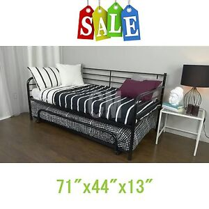 black trundle guest kids bed metal frame twin size bedroom daybed home new