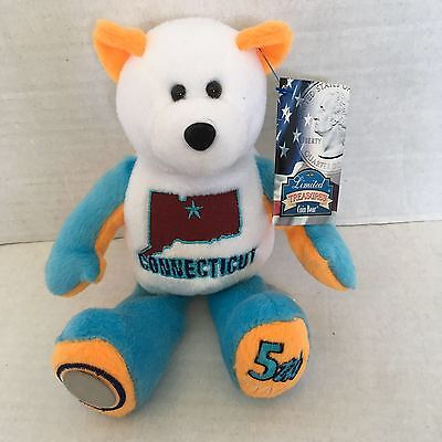 CONNECTICUT 5TH STATE OF US- Plush Coin Bear by Limited Treasures- NWT