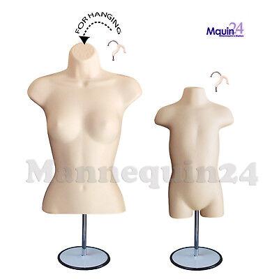 2 Flesh Forms - Female Torso Toddler Body Mannequins 2 Stands 2 Hangers