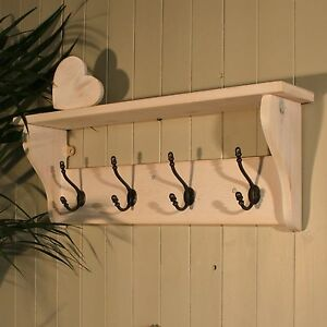 Hat And Coat Rack With Shelf In Shabby Chic Distressed