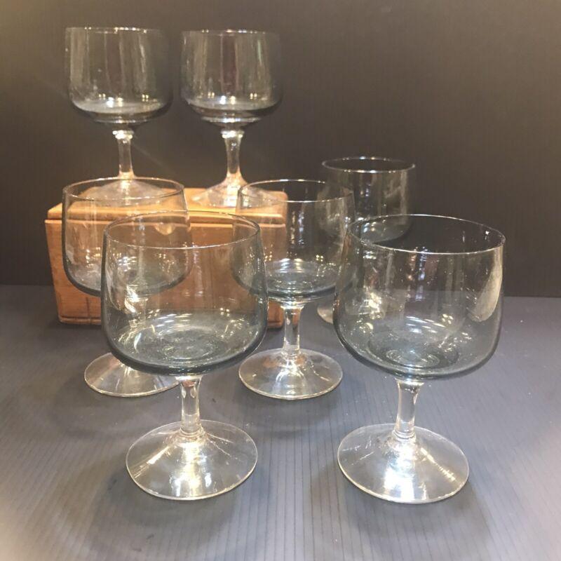 VTG Holmegaard Smoke Grey Wine Goblet Glasses Set Of 7 Danish Modernist